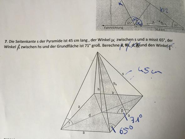 a hs d h und Yamma ist gesucht  - (Mathe, Trigonometrie)