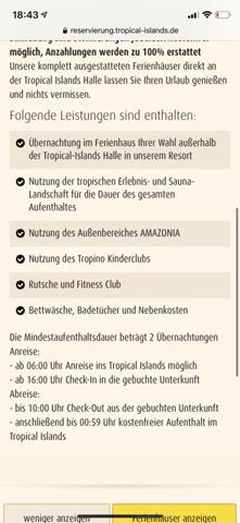 Tropical Island Buchung?