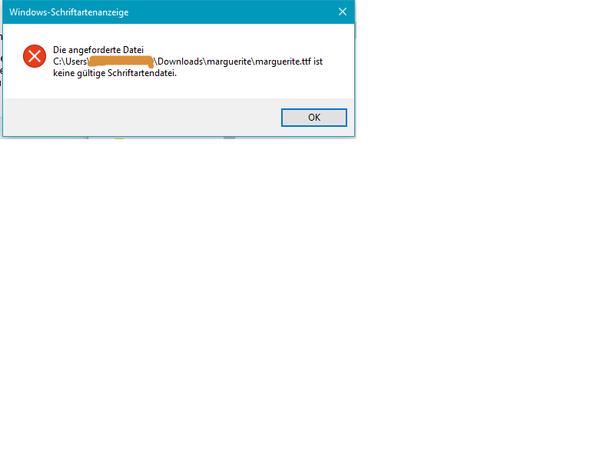 Fehlermeldung - (Windows 10, Installation, Schriftart)