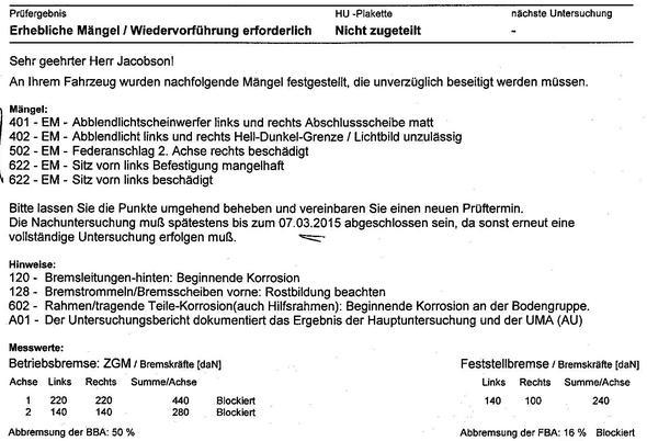 Tüvbericht - Ausschnitt - (KFZ, TüV, Ersatzteile)