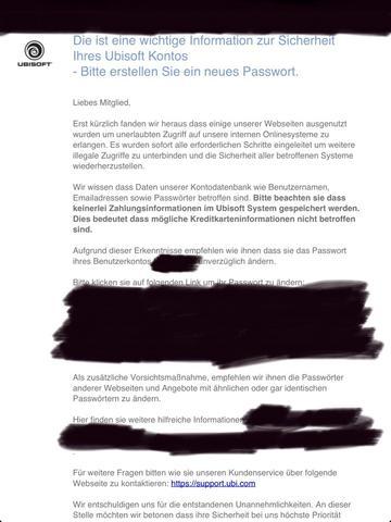 Email von ubisoft - (Playstation 3, Sicherheit, Konto)