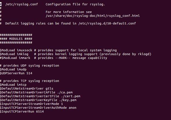 Schritt 6 rsyslog Konfiguration - (Ubuntu, zertifikat,  fail)