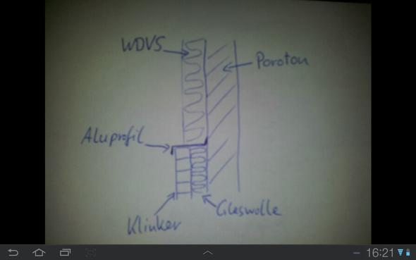 waermebruecke durch aluprofil an porotonwand - (Haus, bauen, Hausbau)