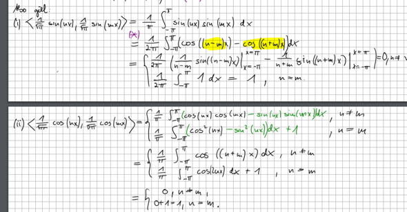 Umformung Integral für n=m und n!=m?