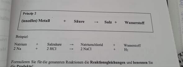 Unedles Metall + Säure / Reaktionsgleichung?