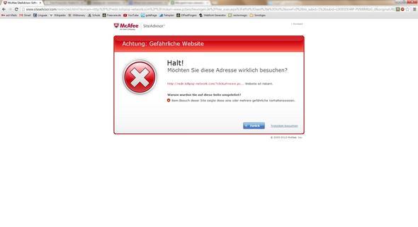 böse Seite (von McAfee blockiert) - (Computer, PC, Internet)