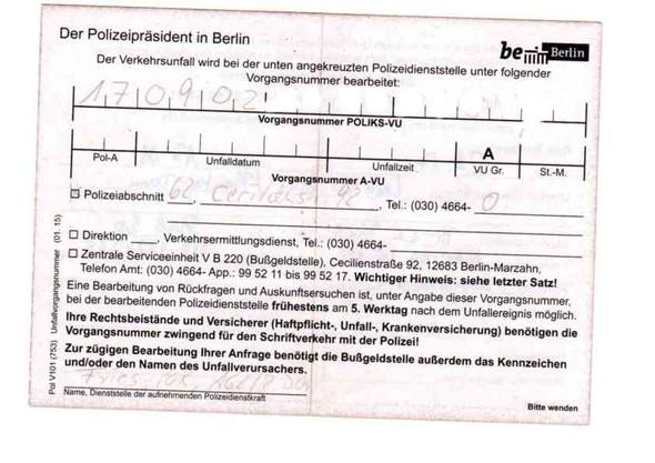 Unfallzettel der Polizei  - (Polizei, keine Verwarnung, Unfallzettel)