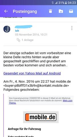 Email - (Kaufvertrag, unfallfrei, Unfallfahrzeug)