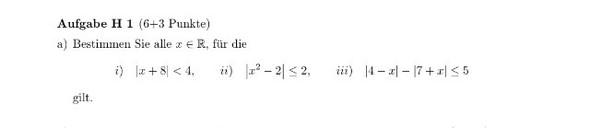 Aufgabe - (Mathematik, Betrag, Ungleichungen)