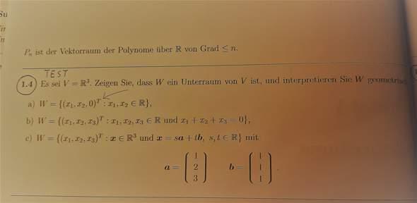 Unterraum-Aufgabe Notation?