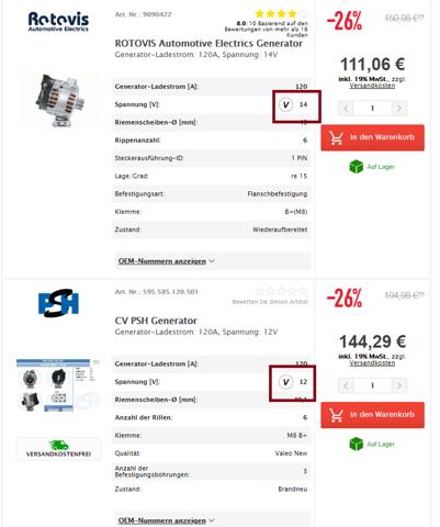 Unterschied 12V und 14V Lichtmaschine - welche nehme ich?