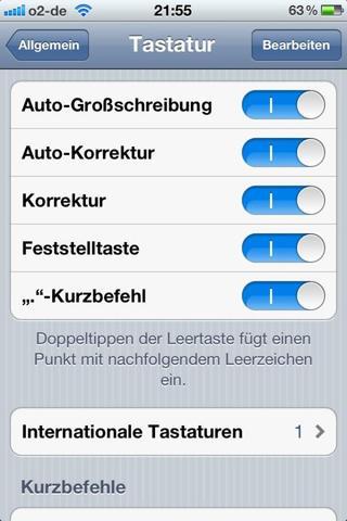 iPhone Tastatureinstellungen - (iPhone, Apple, Tastatur)