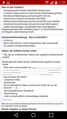 Hier der Screenshot - (Recht, Youtube, Jura)
