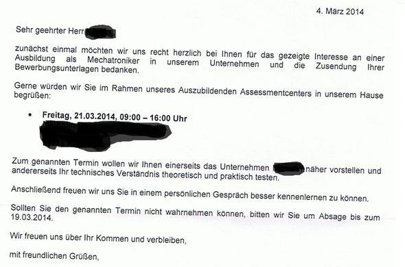 Brief - (Ausbildung, Brief, Vorstellungsgespräch)