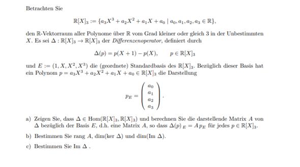 Vektorräume darstellende Matrix,  Ränge und Im?