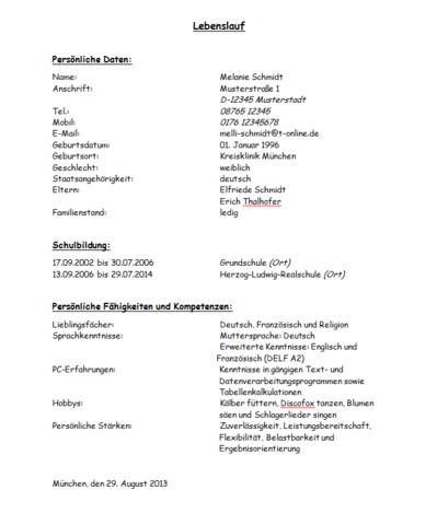 Verbesserungsvorschläge für den Lebenslauf (Verbesserung)