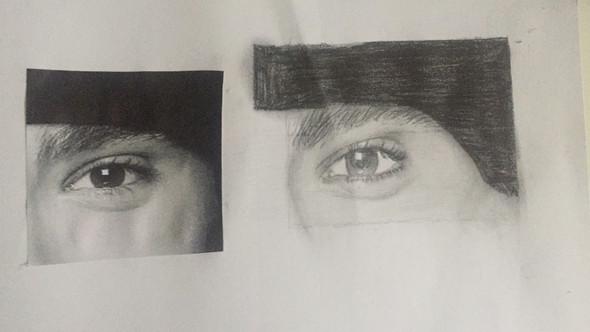 Links das echte Foto, rechts das gezeichnete Auge - (Tipps, Augen, Kunst)