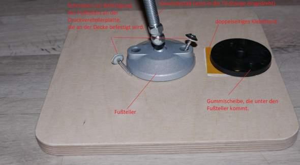 Verliert eine Druckverteilerplatte(multiplex 25x25cm)wirklich ihre Wirkung,wenn an der Stelle,wo Druck aufgebaut wird 2 Schrauben durch bis in die Decke gehen?