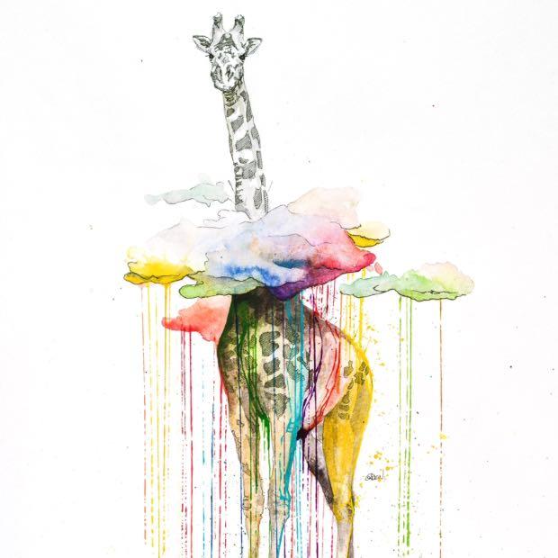 Vermischt Getrocknete Wasserfarbe Mit Frischer Kunst Malen Leinwand