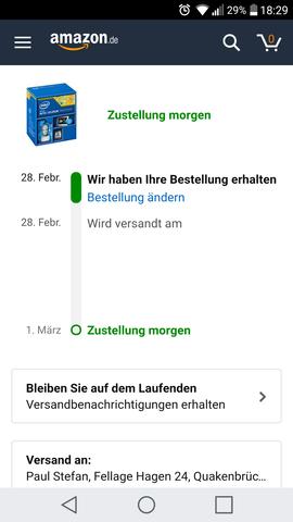 - (Amazon, Post, Versand)