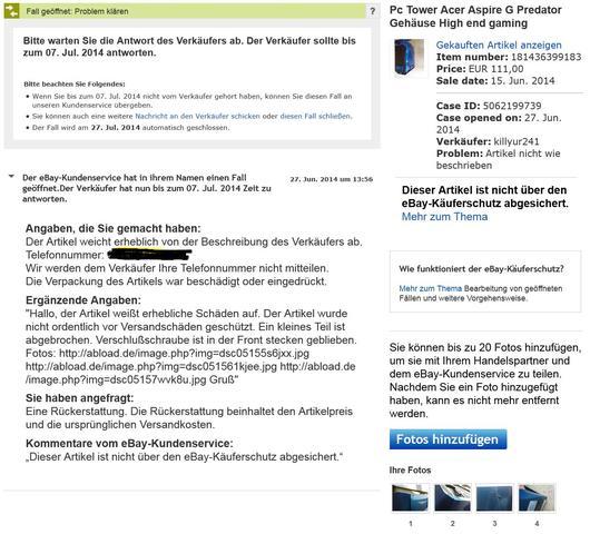 Screenshot zum eBay Fall - (Ebay, Privatkauf, Versandschaden)