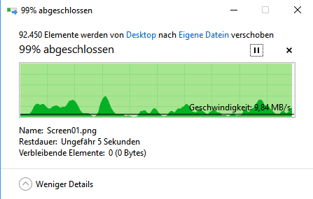 Geschwindkeit beim Verschieben des Ordners - (Computer, PC, Festplatte)