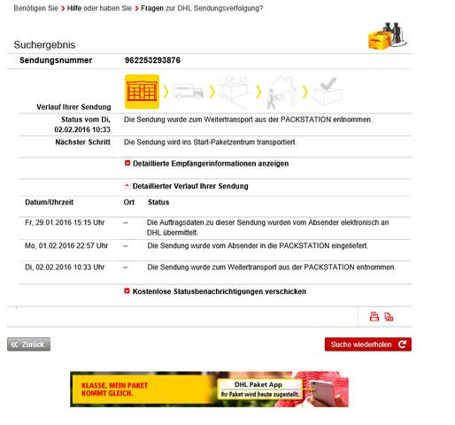 Sendungsstatus DHL - (Freizeit, DHL, Dhl-Sendungsstatus)