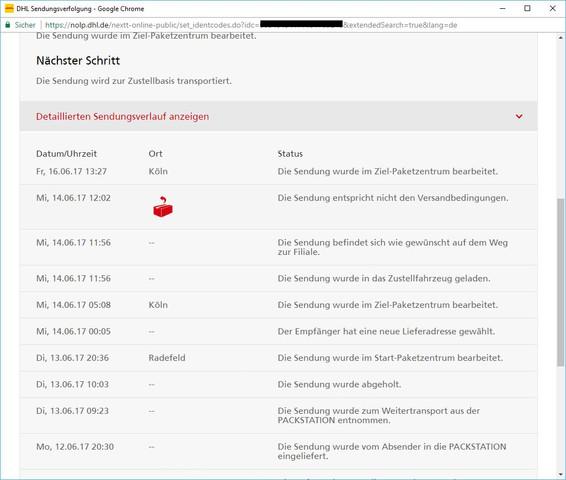 Estimated that Nicht Entspricht Dhl Den Versandbedingungen Sendung typically
