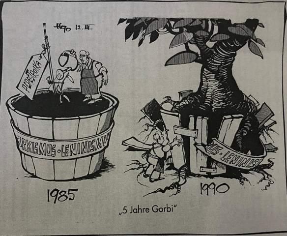 Versteht ihr diese Karikatur über Gorbatschow?