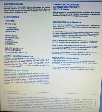 Vertrag über den Kauf von Aramco Aktien Fake? (Freizeit)