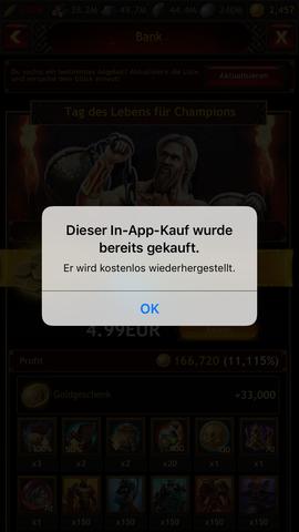 """Meldung die als Antwort auf das Klicken des """"Kauf-Buttons"""" erscheint. - (iTunes, ios, AppStore)"""