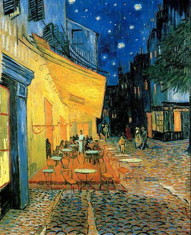Cafeterrasse am Abend Vincent van Gogh Fluchtpunkt beim Pferd - (Kunst, malen, Künstler)