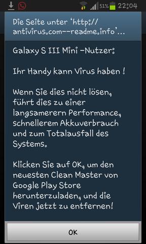 Screenshot der Warnung - (Android, Virus)