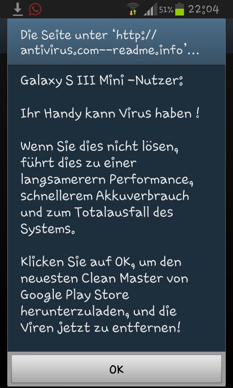 Virusmeldung Samsung
