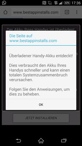 Überladener Handy-Akku - kann nicht sein, hab dazu eine seriöse App - (Werbung, Virus, Trojaner)