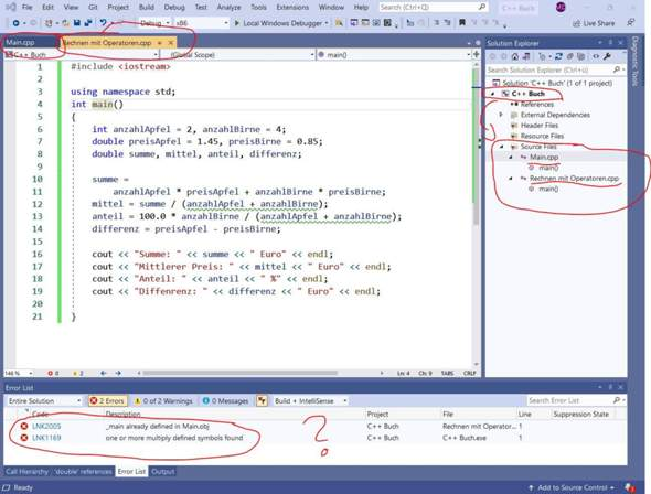 Visual Studio 2019 C++ Code LNK2005 und LNK1169 Lösung?