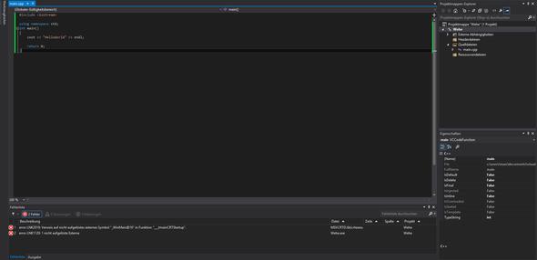 LNK fehler - (PC, Visual Studio, LNK2019)