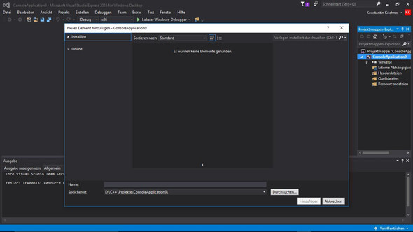 Wenn ich auf hinzufügen klicke erschenen keine Vorlagen - (Informatik, Visual Studio, QuellCode)