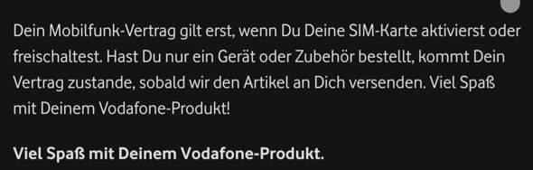 Vodafone Vertrag - Ab wann?