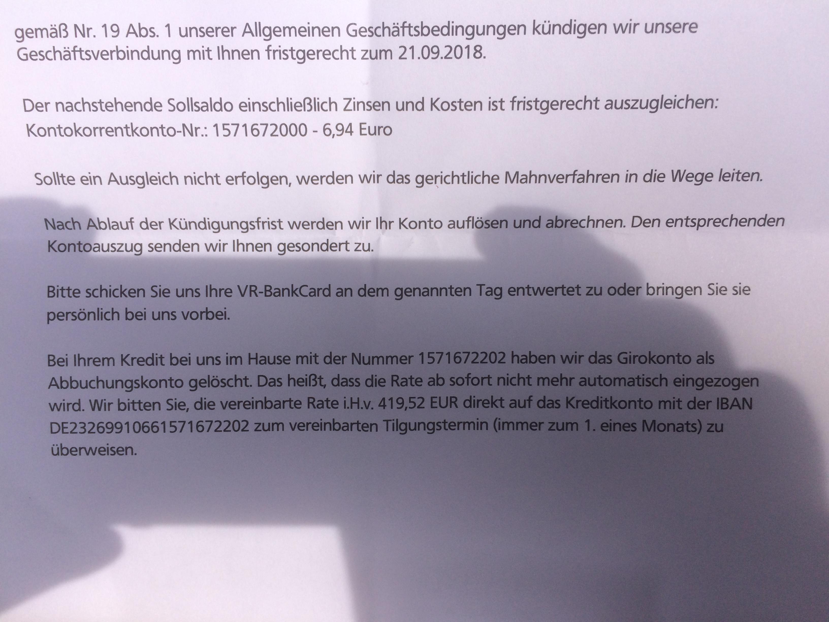 KГјndigung Konto Volksbank