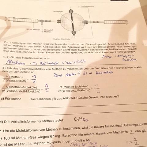 Aufgabe 1b danke - (Chemie, Volumen, 10. Klasse)