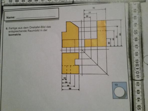 Dreitafeldbild zur Isometrie  - (Schule, Technik, Arbeit)