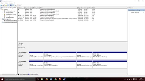 Partitionen auf der internen ind externen Festplatte - (Windows, Festplatte, externe Festplatte)
