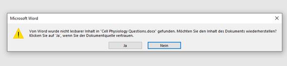 """""""Von Word wurde nicht lesbarer Inhalt in """"XY"""" gefunden""""?"""