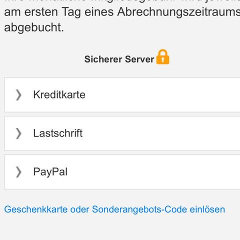 die Zahlungsarten  - (Geld, iPhone, iTunes)