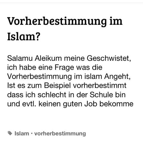Vorherbestimmung  - (Religion, Islam, Glaube)