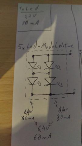 Aufbau der LED Paltine - (LED, GemischteSchaltung, Vorwiderstandsberrechnung)