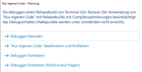 VS 2017 Projekt Release nicht möglich wegen Terminal GUI.cs?