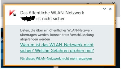 Bildschirmmeldung - (W-Lan, Kaspersky Internet Security)