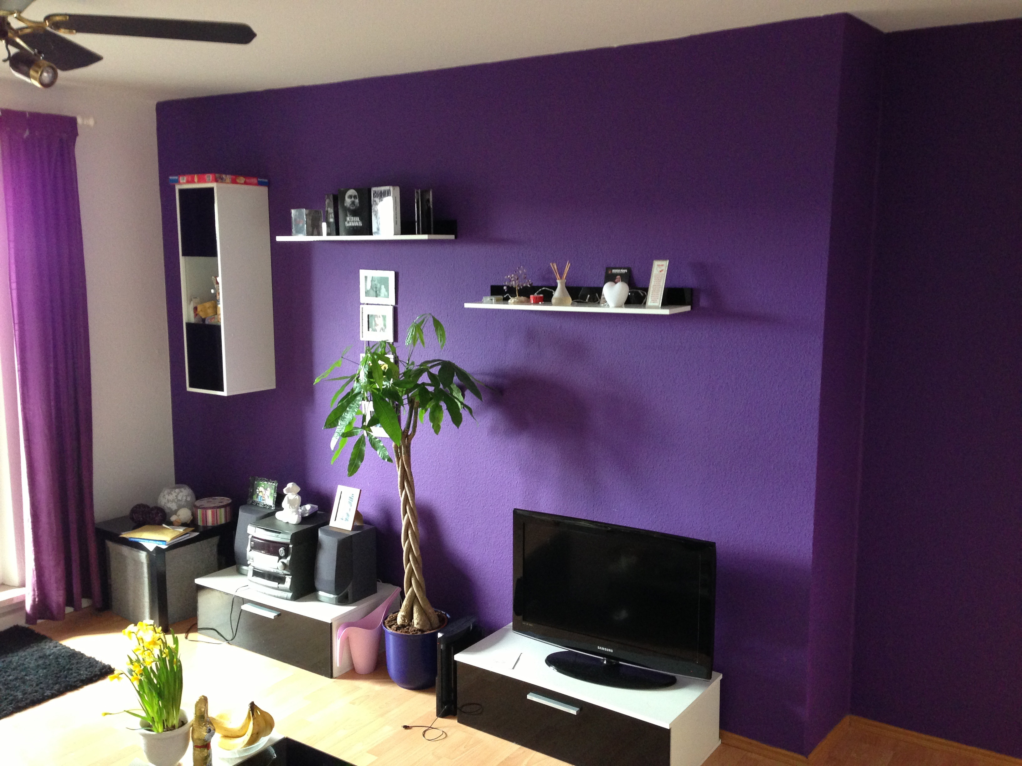 wandgestaltung wohnzimmer aubergine : Wand In Aubergine Streichen Amped For